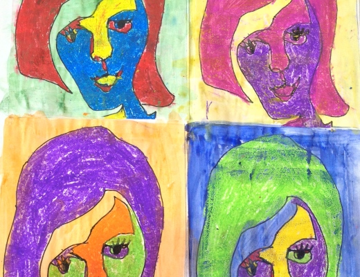 Art Lessons Primary School Color Wheel Colour Theory Drawing KS2 Mixed Media Projects Painting Pop Portraiture